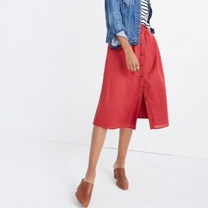 Madewell Red Palisade Button-Front Midi Skirt 2